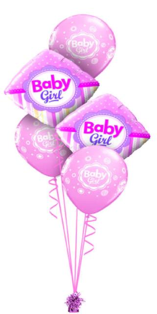 Baby Girl Bouquet (2 Foil, 3 Latex)