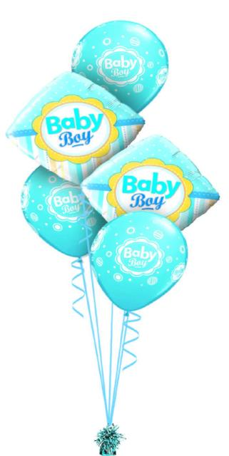 Baby Boy Stripes Bouquet (2 Foil, 3 Latex)