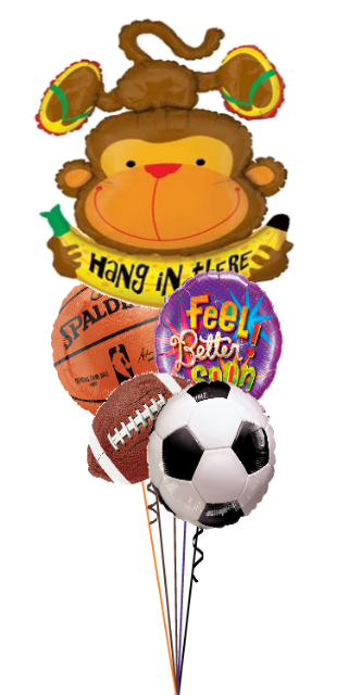 Hang in There Sports Theme Feel Better Soon Bouquet (5 Foils)