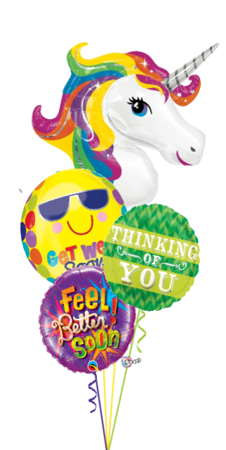 Rainbow Unicorn Get Well Bouquet (4 Foils)
