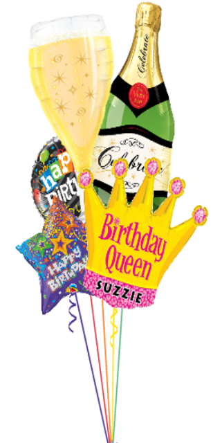 Personalized Birthday Queen Bouquet (5 Foil Balloons)