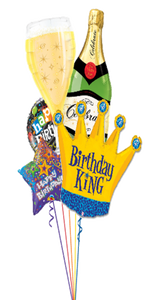 Personalized Birthday King Bouquet (5 Foil Balloons)