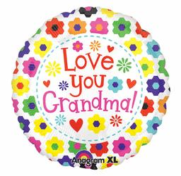 """Love You Grandma"" Flowers and Hearts"
