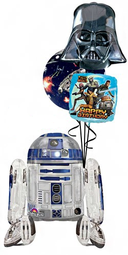 R2D2 Airwalker Bouquet (1 Airwalker, 1 Bubble, 2 Foils)