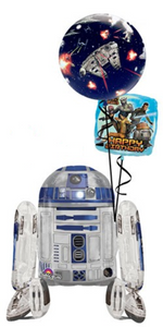 R2D2 Airwalker Bouquet (1 Airwalker, 1 Bubble, 1 Foil)