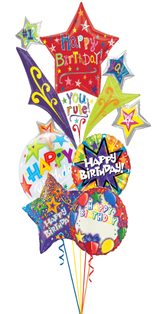 Personalized Starburst Birthday Bouquet (5 Balloons)