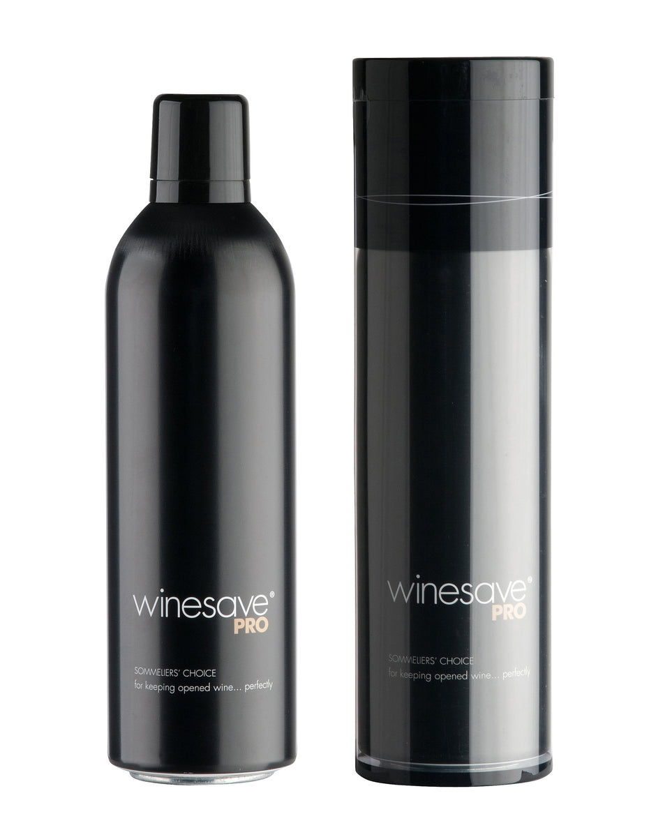 Winesave PRO, premium wine preservation product made with 100% argon gas. One open bottle one bottle in packaging.