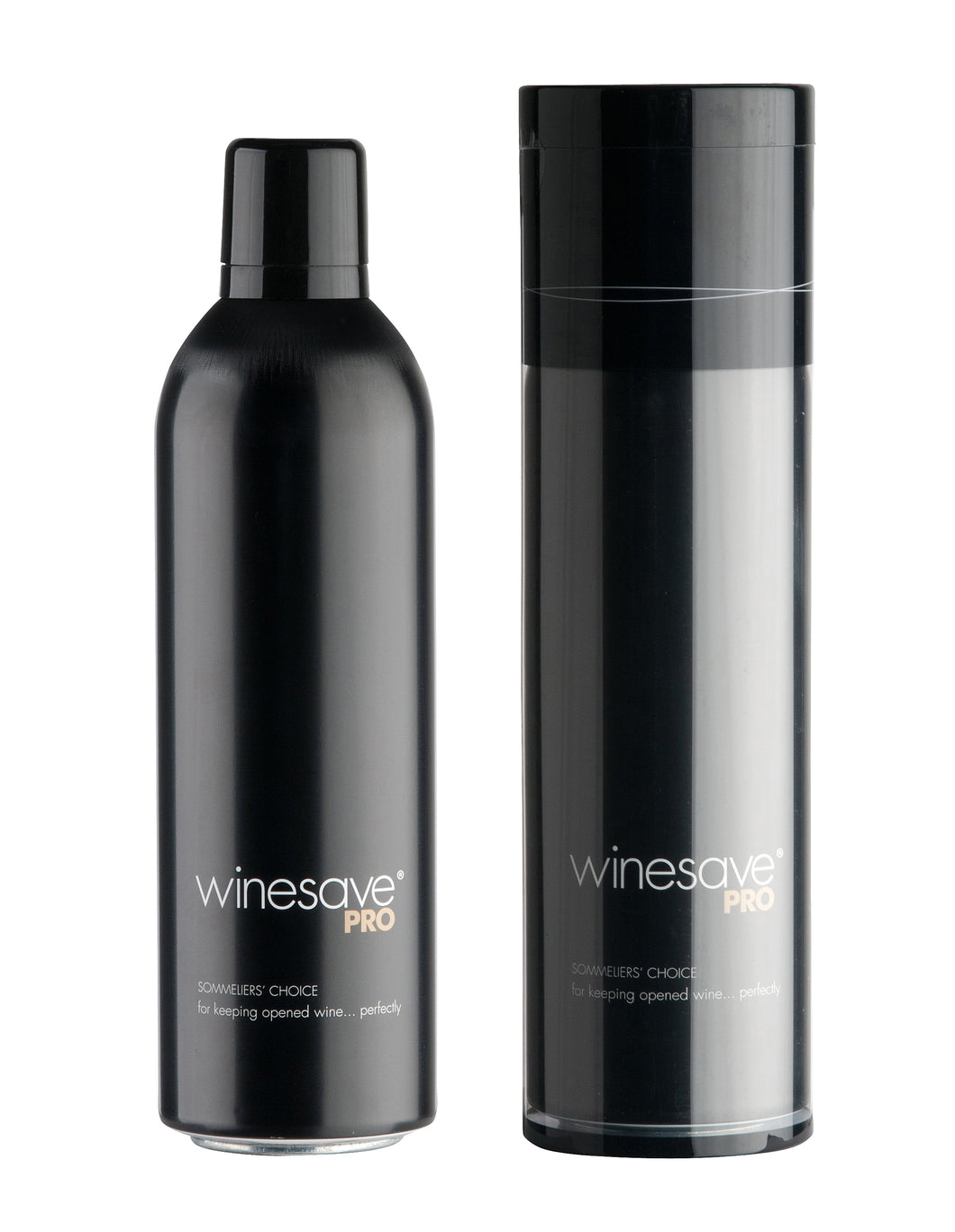 Winesave PRO, premium wine preservation product made with 100% argon gas. Open bottle and packaged bottle.