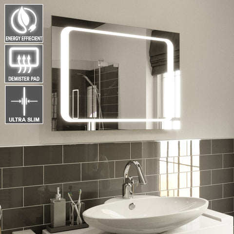 ISLA ILLUMINATED LED BATHROOM MIRROR, DEMISTER PAD & MOTION SENSOR 65X90CM