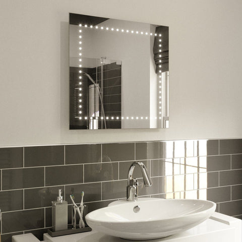 ABBY LED ILLUMINATED BATHROOM MIRROR WITH LIGHTS, DEMISTER PAD & SENSOR SWITCH 60X60CM