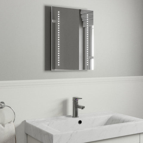 ANNABELLE ULTRA SLIM LED BATHROOM MIRROR WITH DEMISTER PAD & SENSOR SWITCH 50X39CM