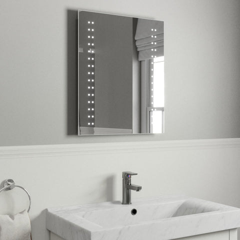 ARLA LED ILLUMINATED BATHROOM MIRROR, DEMISTER PAD & MOTION SENSOR 60X50CM