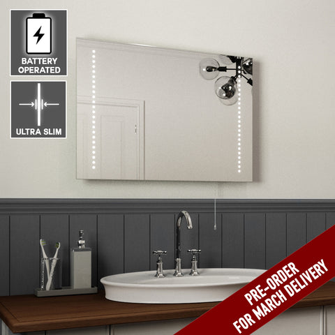 ALICE BATTERY OPERATED LED BATHROOM MIRROR, ULTRA SLIM 50X70CM