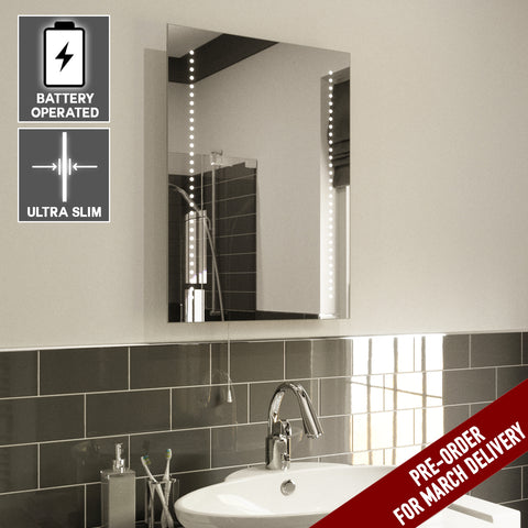 Ava ULTRA SLIM LED BATHROOM MIRROR, BATTERY OPERATED 70X50CM