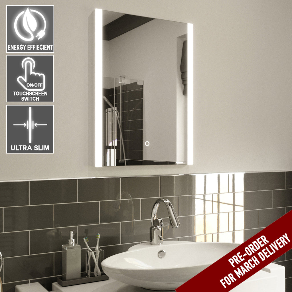 Elle ultra slim led bathroom mirror with demister pad ip44 rated elle ultra slim led bathroom mirror with demister pad ip44 rated 70x50cm aloadofball Image collections