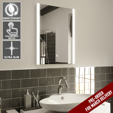 ELLE ULTRA SLIM LED BATHROOM MIRROR WITH DEMISTER PAD, IP44 RATED 70X50CM