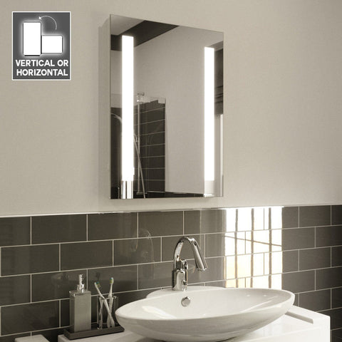 FAYEANNA LED ILLUMINATED BATHROOM MIRROR ULTRA SLIM WITH DEMISTER PAD 70X50CM