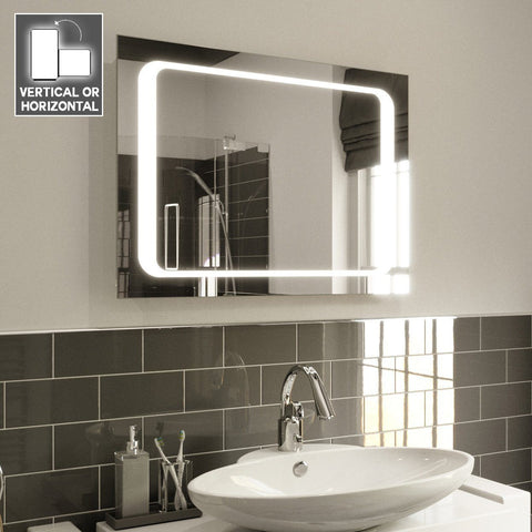IMOGEN ILLUMINATED LED BATHROOM MIRROR, DEMISTER PAD & MOTION SENSOR 80X60CM