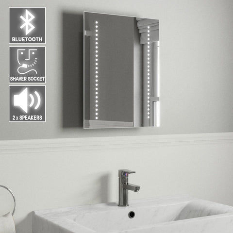 AUDIO BLUETOOTH LED BATHROOM MIRROR WITH LIGHTS, DEMISTER PAD, SHAVER SOCKET & MOTION SENSOR 50X39CM