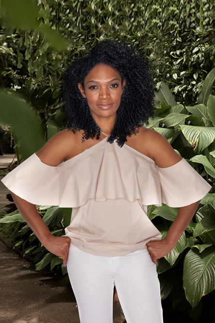 Cold-Shoulder Ruffle Cotton Top