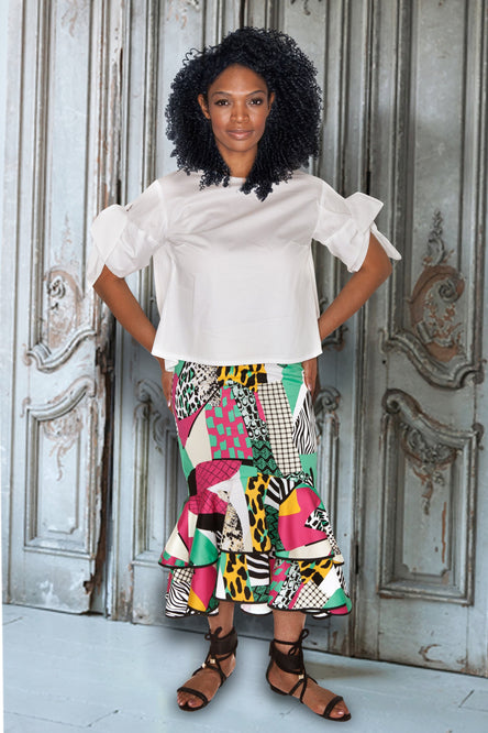 Printed Cotton Sateen Skirt