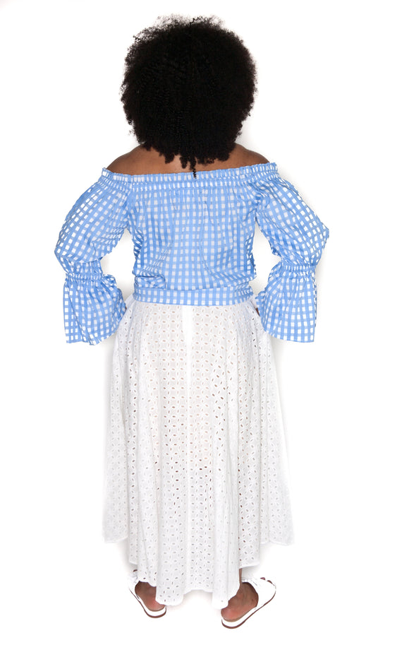 Flared Eyelet Cotton Skirt