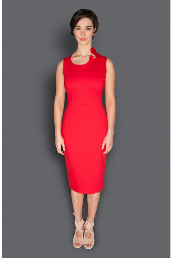 Red Asymmetric Neckline Fitted Dress