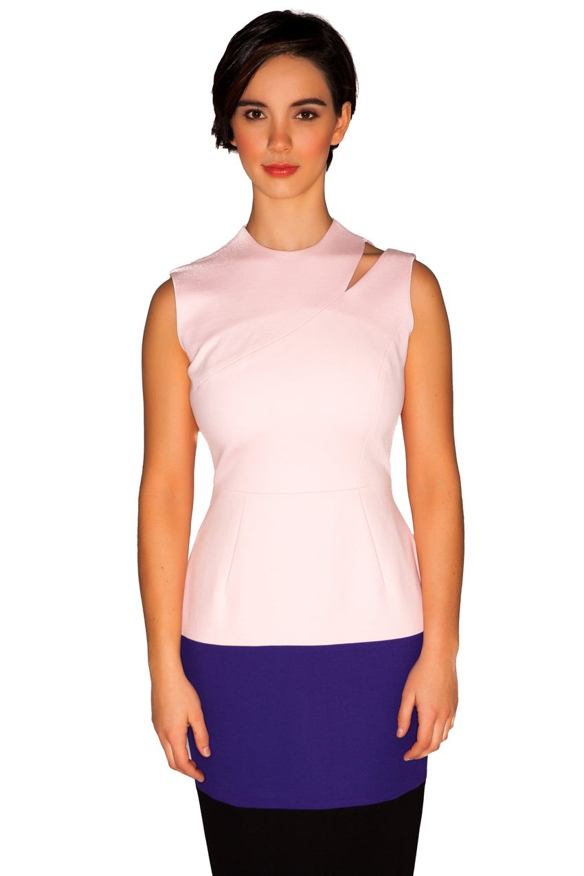Sleeveless three-tone Cut Out Fitted Sheath Dress
