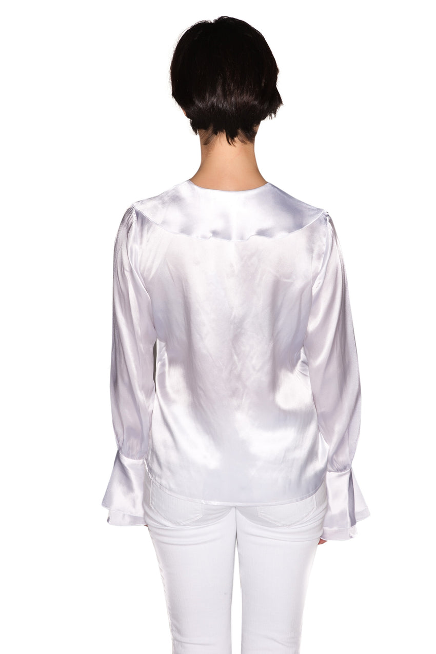 Silk Satin Long Sleeve Ruffled Top