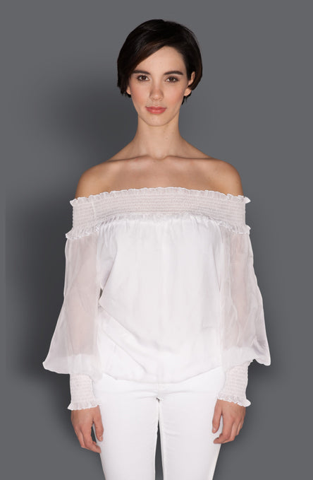 Silk Chiffon Off-The Shoulder Top