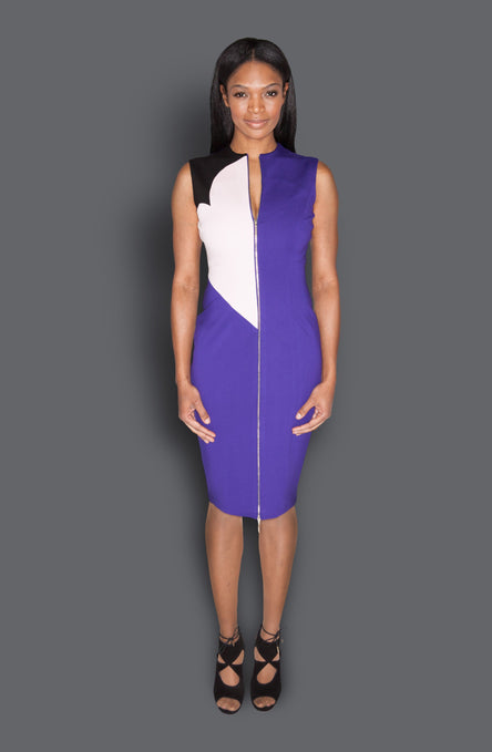 Sleeveless Front Zipper Color Blocked Fitted Sheath Dress