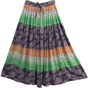 Indian Ethnic Paisley Print Gypsy Bohemian Crinkled Long Broomstick Skirt #10 - Ambali Fashion