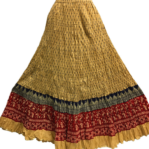 Crinkled Indian Gauze Cotton Boho Block Printed Gypsy Long Maxi Skirt No111 (Beige/Red) - Ambali Fashion
