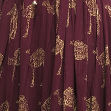 Women's Indian Ethnic Print Shimmering Crinkle Bohemian Long Skirt w/ Gold Border - Ambali Fashion