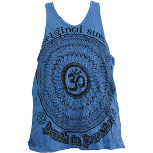 Sure Men's Hippie Yoga Om Crinkled Cotton Sleeveless Tank Top No136 - Ambali Fashion