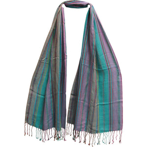 Striped Multicolor Woven Fringed Yoga Organic Cotton Scarf (#13) - Ambali Fashion