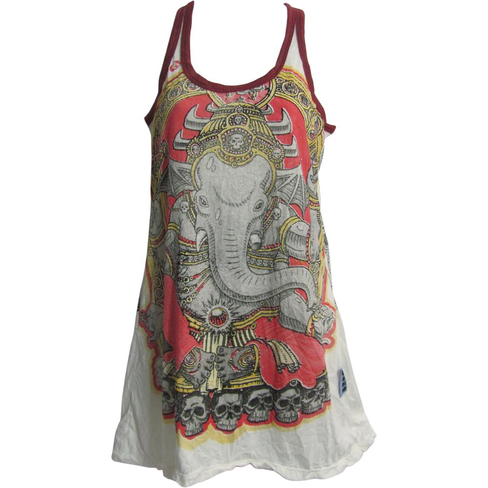 Hippie Yoga Ganesh Sure Cotton Tunic Dress Cami Tank Top #142 - Ambali Fashion