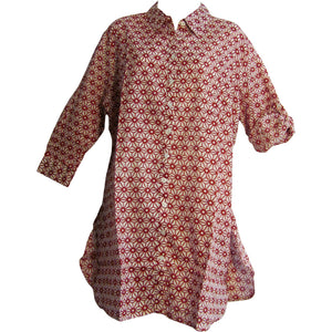 Indian Gauze Cotton Roll Tab 3/4 Sleeve Long Tunic Blouse Top SITA - Ambali Fashion