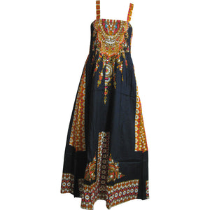 Missy Ethnic Print Smocked Waist Sleeveless A-Line Long Maxi Dress Maya - Ambali Fashion