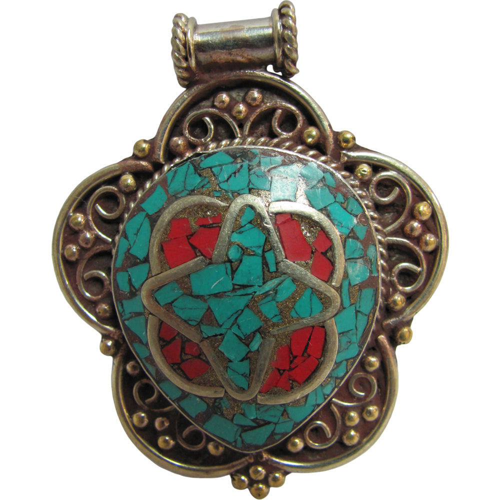 Vintage Tibetan Turquoise & Coral Inlay Large Two Tone Pendant #1 - Ambali Fashion