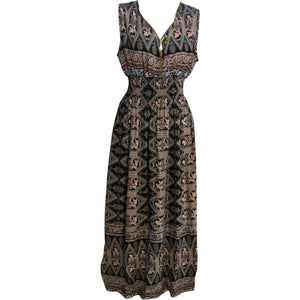 Ethnic Tribal Print Smocked Waist A-Line Zippered V-Neckline Sleeveless Long Dress - Ambali Fashion
