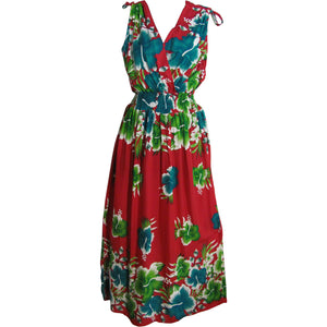 Hawaiian Bohemian Sleeveless V-Neck Wrap Long Floral Sundress TH HULA B - Ambali Fashion