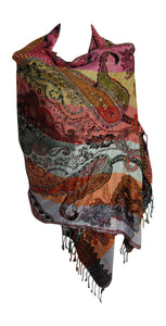 Ethnic Paisley Embroidered Reversible Indian Pashmina Shawl Stole Sonali Assortment - Ambali Fashion