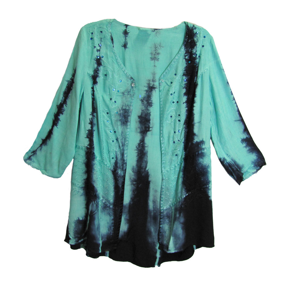 Missy Plus Tie-Dye Renaissance Hippie Bohemian Shrug Bolero Jacket Blouse Blue #2 - Ambali Fashion