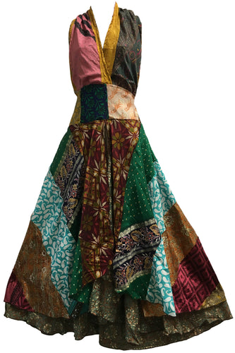 Boho Handmade Patchwork Halter Neck Indian Silk Sari Long Dress