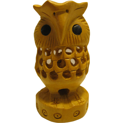 Collectible Wooden Indian Statue Owl with Baby Handmade Sculpture Figurine #2 - Ambali Fashion