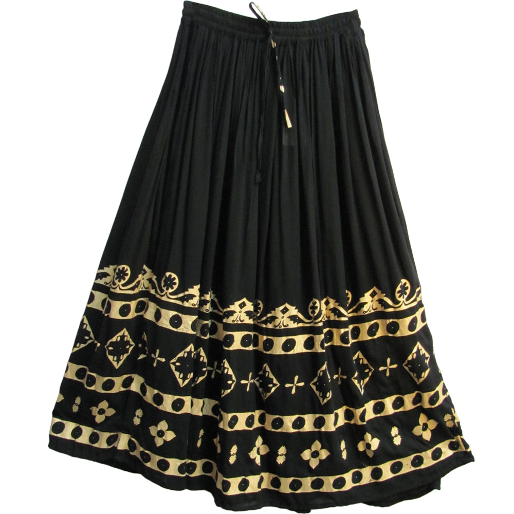Black/Gold Crinkle Indian Paisley Long Broomstick Belly Dance Skirt #36 - Ambali Fashion