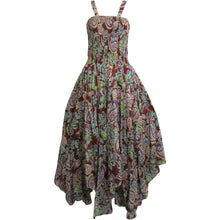 Bohemian Indian Gauze Cotton Smocked Bodice Sleeveless Summer Long Maxi Dress - Ambali Fashion