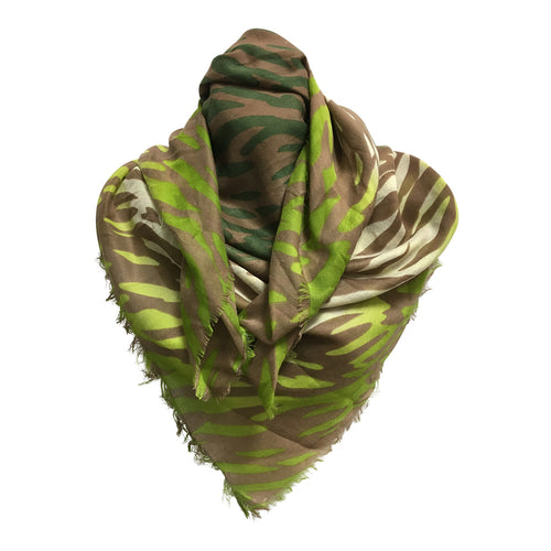 Green and Brown Square Tiger Animal Print Scarf Stole Wrap JK443 - Ambali Fashion