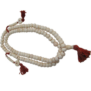 Tibetan 108ct White Bone Japa Mala Hindu Yoga Prayer Bead Necklace - Ambali Fashion